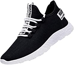 Men's Flying Weaving Casual Walking Running Outdoor Shoes Breathable Tourist Athletic Sports Sneakers (39, Black)