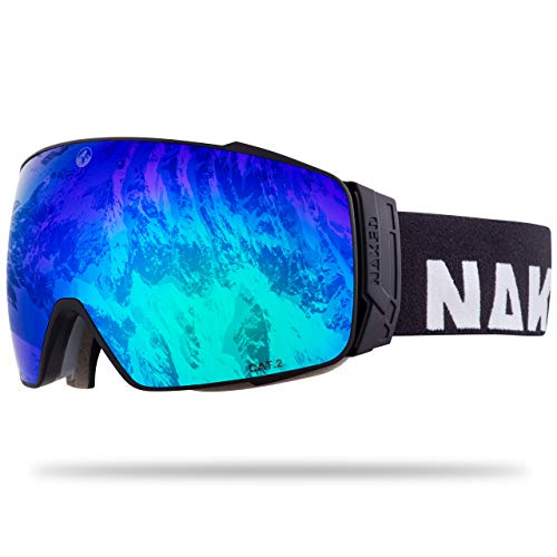 NAKED Optics® Skibrille Snowboard Brille für Damen und Herren - Verspiegelt mit Magnet-Wechselsystem – Ski Goggles for Men and Women (Black, inkl. Schlechtwetterglas)