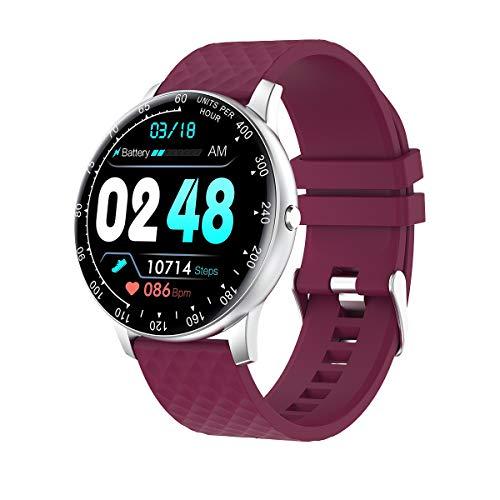 QAK Smart Watch Watch Fitness Tracker Intelligente Braccialetto Donna Impermeabile Frequenza Cardiaca Monitor Pressione Sanguigna H30 Rotondo Round Wirstband per Telefono Android iOS Telefono,B