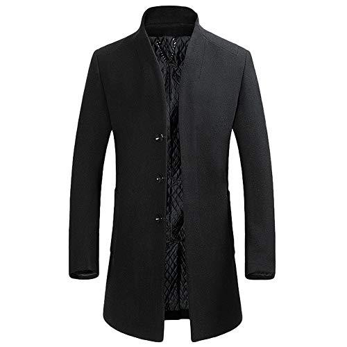 YOUTHUP Herren Wollmischung Mantel Slim fit Warmbody Windbreaker Business Winter Jacke, Schwarz(design 2), M