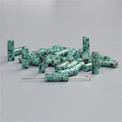 10 unids/lote 4x13 mm piedra natural cuarzo jaspes jades cristal tubo redondo cilindro espaciador perlas colgante encanto para fabricación de joyas NO29 jaspe