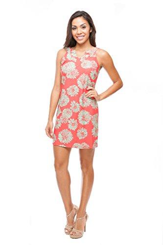 Floral Sleeveless Shift Dress (Small) Pink/Mint