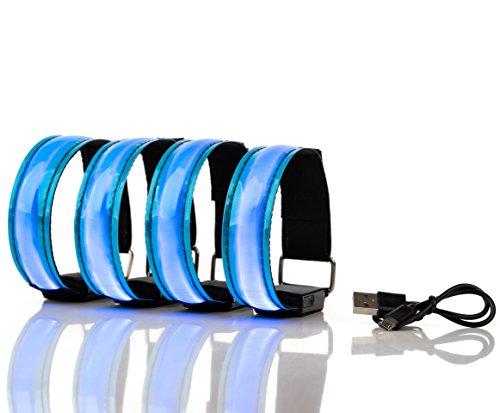 Actinetics Aufladbares LED Armband, Leuchtband für Joggen, Laufen – Sicherheitslicht, Reflektor und Blinklicht für Kinder – Blinkende und statische LED-Funktionen, USB aufladbar (4 Stück)