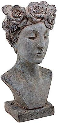 Design Toscano DS19184 Flora, Roman Nymph of Flowers Sculptural Head Planter, Greystone Finish