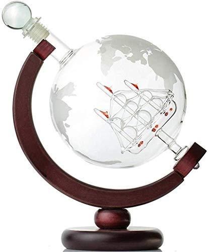 Whiskey Decanter World Globe Decantador grabado en forma de barco antiguo alicates de vidrio Bar Hopper Stopper dispensador de licor Spirits,Globe