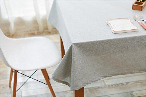 Ommda Nappe Lin Anti-tâche Imperméable Nappe de Table a Manger 110x110cm Gris Clair
