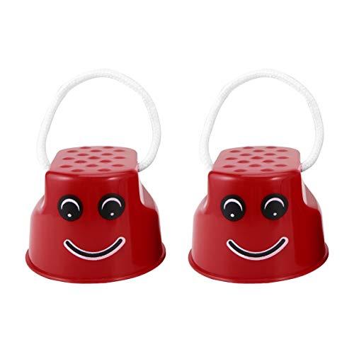 Plástico Divertido Niños Niños Diversión al Aire Libre Caminar Zancos Saltar Sonrisa Cara Patrón Deportes Balance Entrenamiento Juguete Mejor Regalo BCVBFGCXVB (Rojo