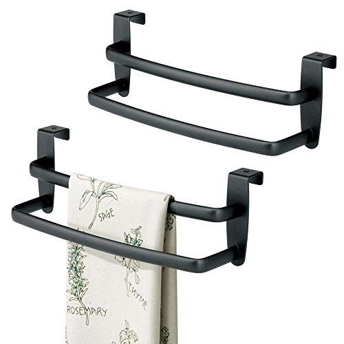 mDesign Metal Modern Kitchen Over Cabinet Double Towel Bar Rack - Hang on Inside or Outside of Doors, Storage and Organization for Hand, Dish, Tea Towels - 9.75