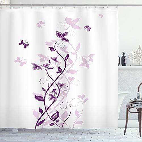 ABAKUHAUS Lila Duschvorhang, Violet-Blüten, Waserdichter Stoff mit 12 Haken Set Dekorativer Farbfest Bakterie Resistet, 175 x 200 cm, Lila weiß