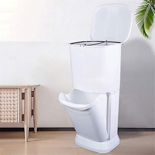 1yess Komfortabel 32L Küche Abfalleimer Trennung und Recyclingeinheit Klassifizierte Mülleimer Dreit DREI-Tier-Klassifizierung Recycling-Bin-Badezimmer-Zimmer (Farbe: Weiß, Größe: 32L)