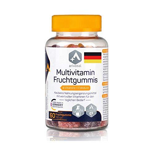 Multivitamin Kapseln zum Kauen – Multivitamin Gummibärchen – kaubare Vitamin Tabletten für Kinder & Erwachsene – 8 Vitamine & Folsäure – Made in Germany