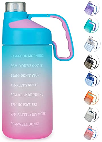 JINLIBUS Motivational Water Bottle with Time Marker - Leakproof Tritan BPA Free Fitness Sports Water Jug with Removable Straw to Ensure You Drink Enough Water Daily