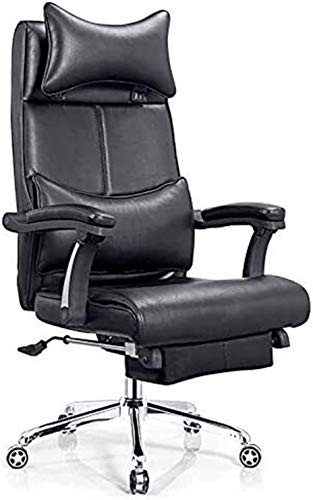 PULLEY Executive Office Chair Computer Chair, Cowhide Boss Chair, High-Back Office Lunch Break Chair, Lazy Recliner Sofa Chair with Footrest (Color : Black)
