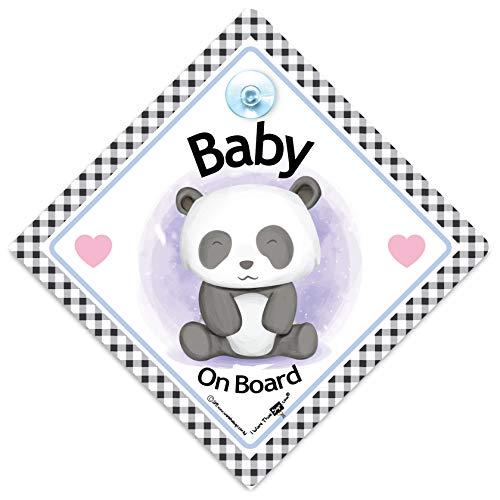 iwantthatsign.com Baby Panda on Board Schild Baby on Board Autoschild mit Baby Panda Bär und Saugnapf Befestigung