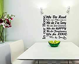 Wall Decor Plus More WDPM3381 We Do Real Mistakes Happy Love Forgiveness We Do Family Wall Decal Collage Quote, 23 x 23-Inch, Black