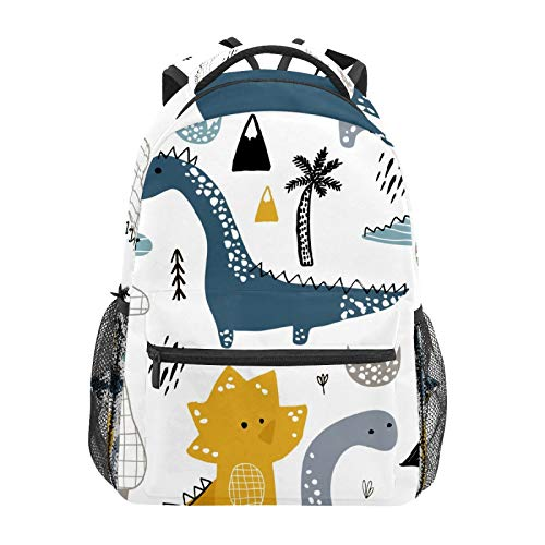 School Backpack Funny Cartoon Dinosaur Casual Travel Laptop Daypack Canvas Book Bags for Woman Girls Boys Student Adult Men