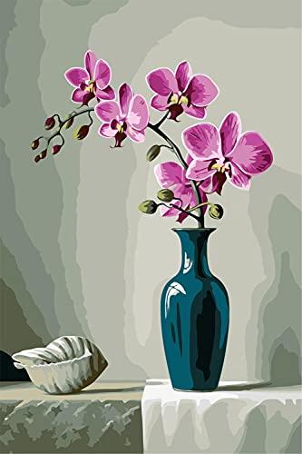 Pintura por Número DIY Flores Rosadas Adulto niño Principiantes Pintura con Pinceles para Hogar El Lienzo Arte Decoraciones navideña Regalos Frameless_60x75cm(24x30inch)