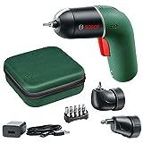 Bosch atornillador a batería IXO Set 6.ª generación, verde, con adaptadores angular y excéntrico IXO, CONTROL DE VELOCIDAD variable, recargable con cable micro-USB, en maletín blando