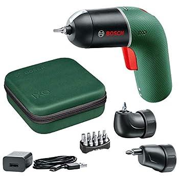 Bosch DIY Tools Visseuse sans fil Bosch - IXO Set (6ème génération, verte, renvoi d'angleIXO et embout déportéIXO, variateur de vitesse, rechargeable avec câble micro USB, en boîtier souple)