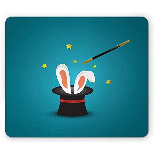 Häschen-Mausunterlage,Zauberer-Hut Mit Den Kaninchen-Ohren Und Einem Magischen Stab-Stern-Motiven Heikel,Rutschfestes Gummimousepad des Rechtecks,Benzinblau Und