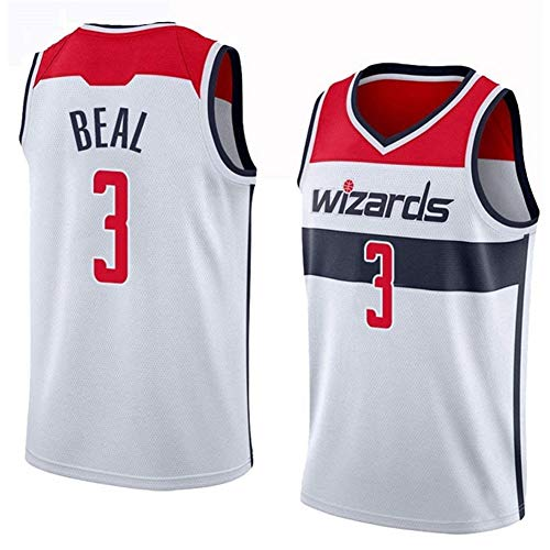 DXG NBA Washington Wizards 3# Bradley Beal Camiseta de Baloncesto Uniforme Bordados Traje Chaleco Deportivo sin Mangas de Secado Rápido Transpirable,Blanco,M