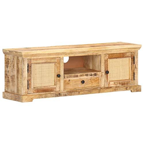 Festnight Mueble para TV Mesa Televisión Rústico con 1 Cajón y 3 Compartimentos Madera Maciza Mango y Caña Natural 120x30x40 cm