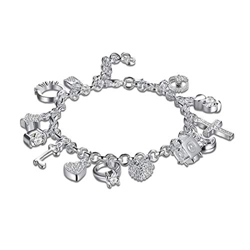Personalized Charm Bracelets 925 Sterling Silver Plated Fashion Crystal Pendants Bracelet for Girls Costume Jewelry