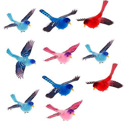 B Blesiya Oiseaux de Mousse Artificielle Oiseaux Statues Mariage Décor - Couleur 10pcs