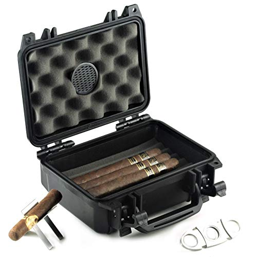 Waterproof Travel Cigar Humidor Case - Holds...