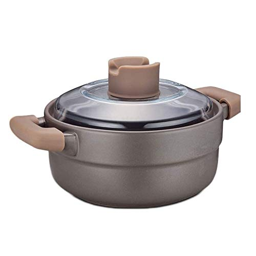 YTTZZ Casserole Cookware Premium Stone Potwith Glass Lid Scratch Oven Cookware Uniform Heat