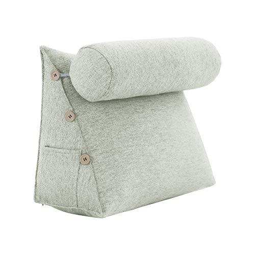VERCART Rückenkissen Nackenrolle Keilkissen Stützkissen Nackenstützkissen Kopfkissen Groß Kissen Bettkissen Wedge Pillow für Sofa Bett Couch Leinen Weiß 60x50x22cm
