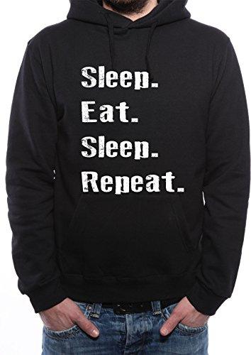 Mister Merchandise Herren Men Pullover Hoodie Sleep Eat Sleep Repeat Kapuzenpullover Pulli Bedruckt Schwarz, M