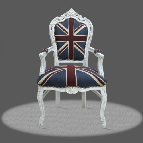 Casa Padrino Barroco Cena con apoyabrazos Blanco Estilo Union Jack/antigüedades - Estilo Antiguo