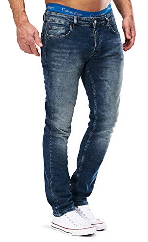 MERISH Jeans Herren Slim Fit Jeanshose Stretch Designer Hose Denim 501 (33-34, 501-4 Blau JJ)