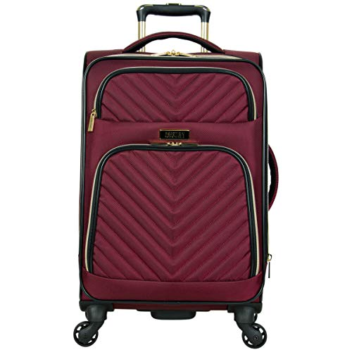 Kenneth Cole Reaction Women's Chelsea Collection 20' Chevron Quilted Softside Expandable 4-Wheel Spinner Carry-On Suitcase, Burgundy