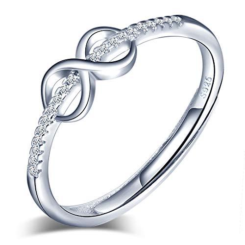 Anillo abierto de plata de ley 925 para mujer, con símbolo de infinito, plata, anillo de compromiso, tamaño ajustable, regalo de cumpleaños de Navidad