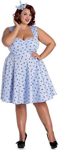 Hell Bunny Damen Kleid Lucine Kirschen Retrokleid (3XL, Hellblau mit Kirschen Plus Size)
