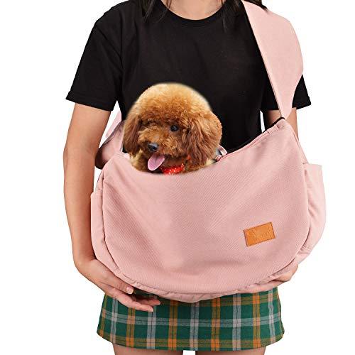 HAPPY HACHI Bandoleras Portaperros Pequeño Transporte Portador Perros Gatos Bolsa Cotón Transportín Viaje Hombro Cómodo Suave Rosa