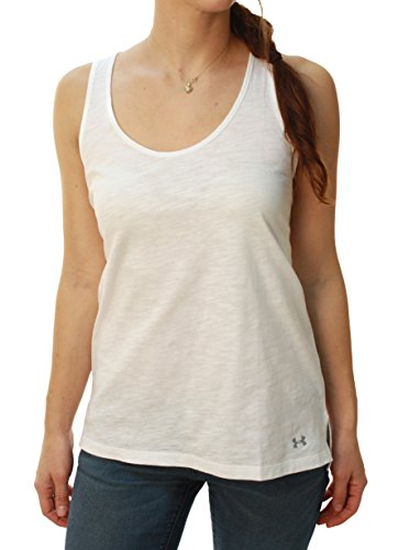Camiseta sin mangas con estampado de algod¨®n para mujer (Blanco, SM)