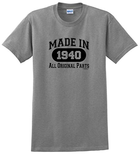 Image of the 80th Birthday Gift Made 1940 All Original Parts T-Shirt Small Sport Grey