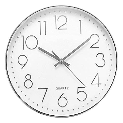 Delgeo 30cm Horloge Murale Ronde Moderne Quartz Horloge Murale Silencieuse Adaptée au Salon Cuisine Chambre denfants Bureau Salle à Manger Bureau Horloge (Argent)