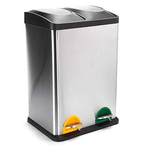 MSV Mülleimer Mülltrennsystem 40 L (2x20 Liter) mit Inneneimer große Abfallbehälter Abfalleimer Treteimer Edelstahl