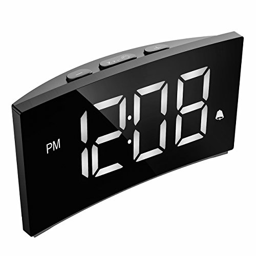 PICTEK Digital Alarm Clocks Bedside Mains Powered, LED Clock with 5' Curved...