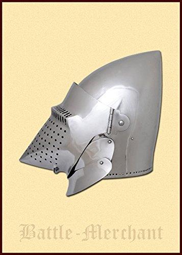 Battle-Merchant Hundsgugel, ca. 1400, für Schaukampf Dekohelm schaukampftauglich Ritterhelm LARP Wikinger