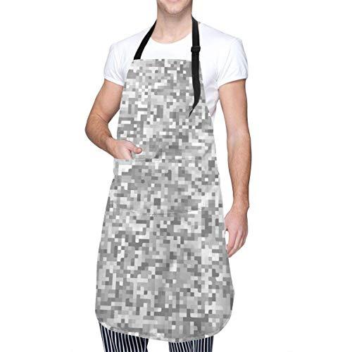 Cocina Delantal,Babero De Cocina Con Disfraz De Camuflaje Digital De Camuflaje De Camuflaje Blanco, Delantales De Cocina Con Estampado Divertido Con Bolsillo Para Cocinar Para Adultos,70x84cm