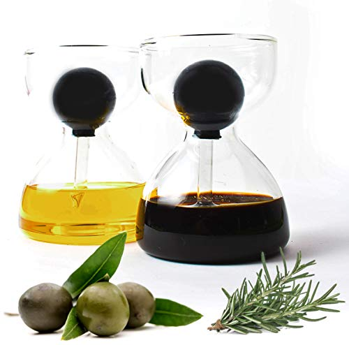Hector&Dwight DropD'olio Öl und Essig Spender Set mit Glas Pipette - 2er Set mit je 200ml - Perfekt für Ciabatta und Salat