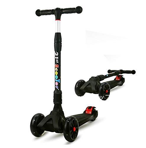 バランスバイク 3輪キッズスクーター LED 光るウィール キックスケータ プロテクター キックスケーター 子供用 キッズ用 イージースケーター  (ブラック)