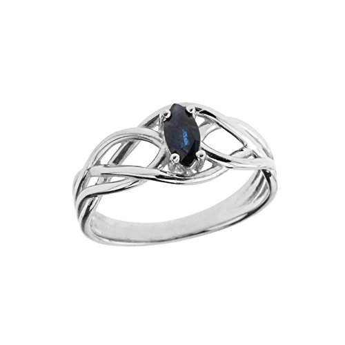 Exquisite Sterling Silver Sapphire Celtic Knot Engagement/Promise Ring (Size 11)
