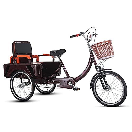 OHHG Triciclo Adultos Estructura Acero Alto Carbono 3 Ruedas Cesta la Compra Asiento Trasero recreación, Compras, Picnic, Ejercicio