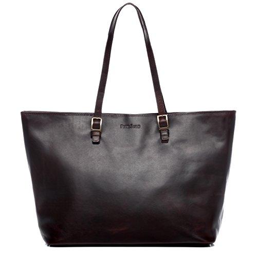 FEYNSINN Borsa porta pc vera pelle vintage GRACE grande borsa a spalla 15' portadocumenti a tracolla portatile 15,4 pollici donna cuoio marrone